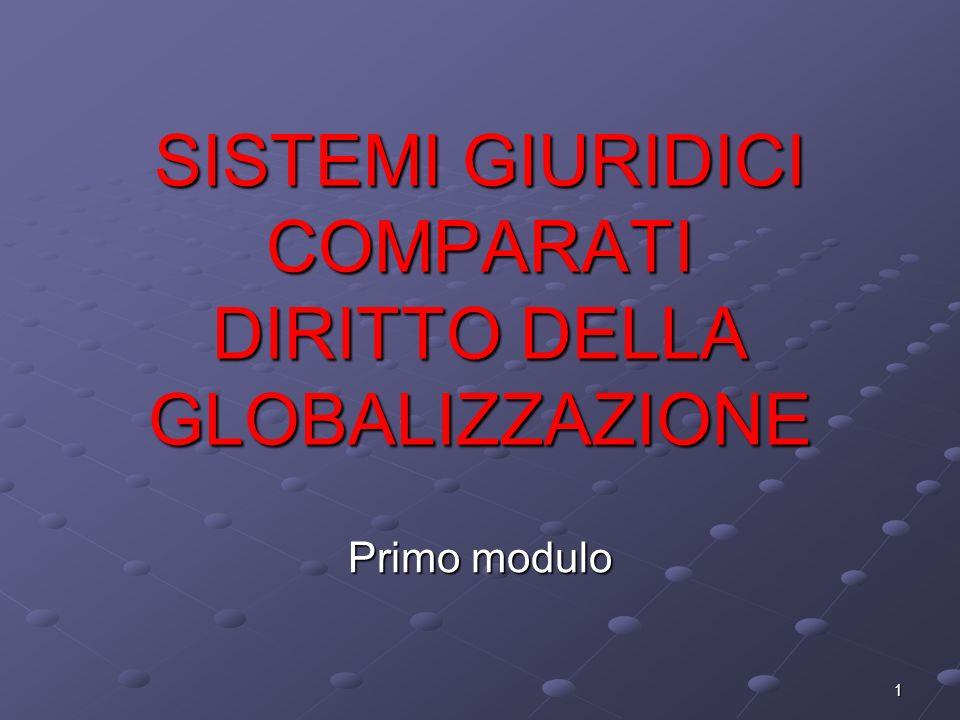 1 SISTEMI GIURIDICI COMPARATI DIRITTO DELLA GLOBALIZZAZIONE Primo modulo