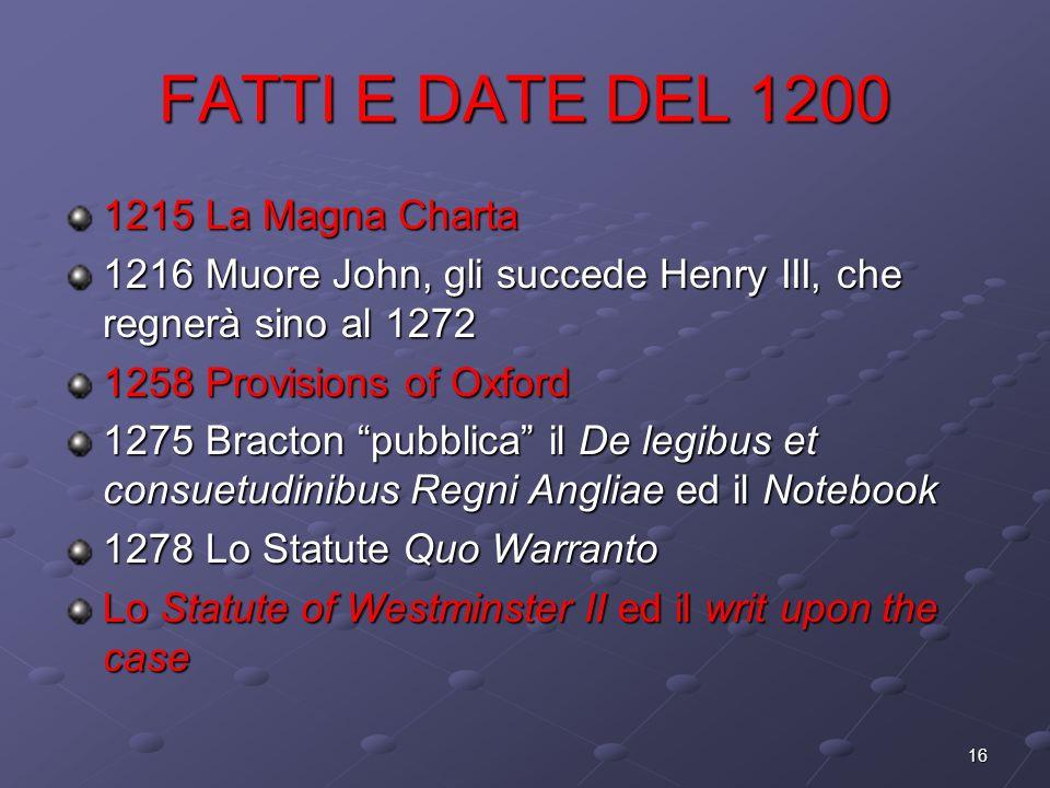 16 FATTI E DATE DEL 1200 1215 La Magna Charta 1216 Muore John, gli succede Henry III, che regnerà sino al 1272 1258 Provisions of Oxford 1275 Bracton