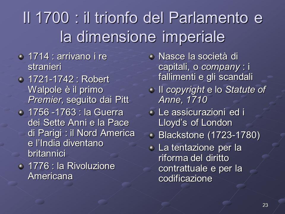 23 Il 1700 : il trionfo del Parlamento e la dimensione imperiale 1714 : arrivano i re stranieri 1721-1742 : Robert Walpole è il primo Premier, seguito