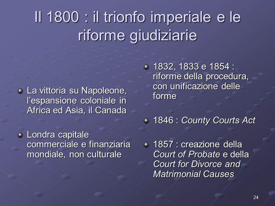 24 Il 1800 : il trionfo imperiale e le riforme giudiziarie La vittoria su Napoleone, lespansione coloniale in Africa ed Asia, il Canada Londra capital