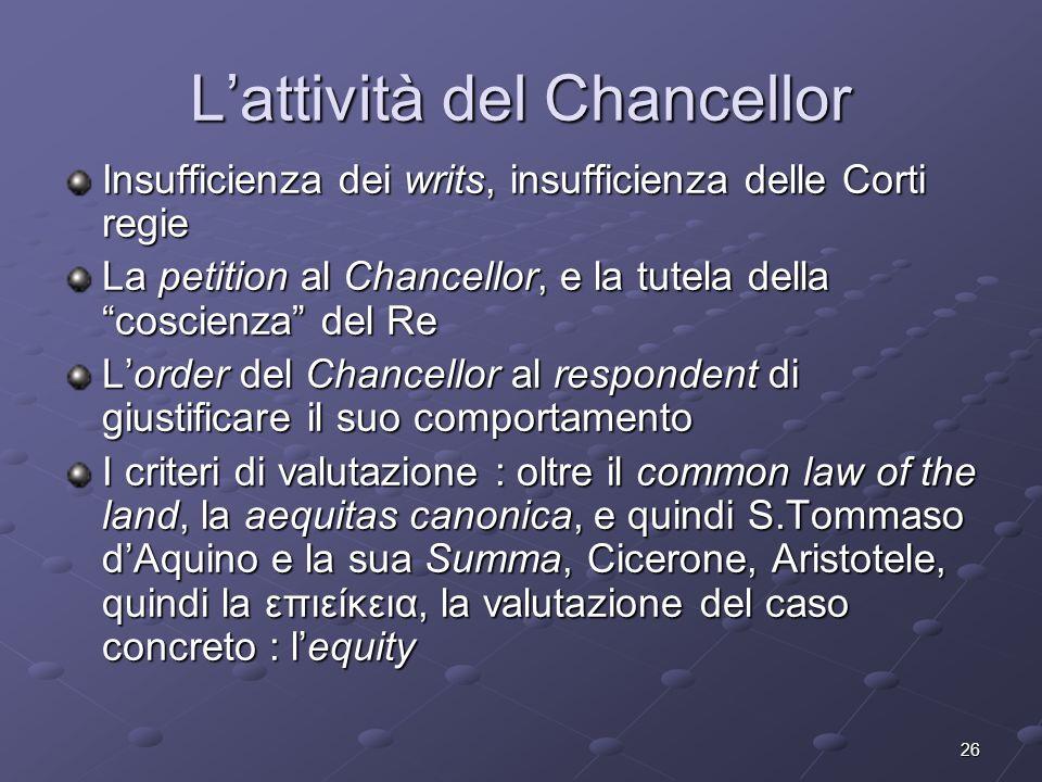 26 Lattività del Chancellor Insufficienza dei writs, insufficienza delle Corti regie La petition al Chancellor, e la tutela della coscienza del Re Lor
