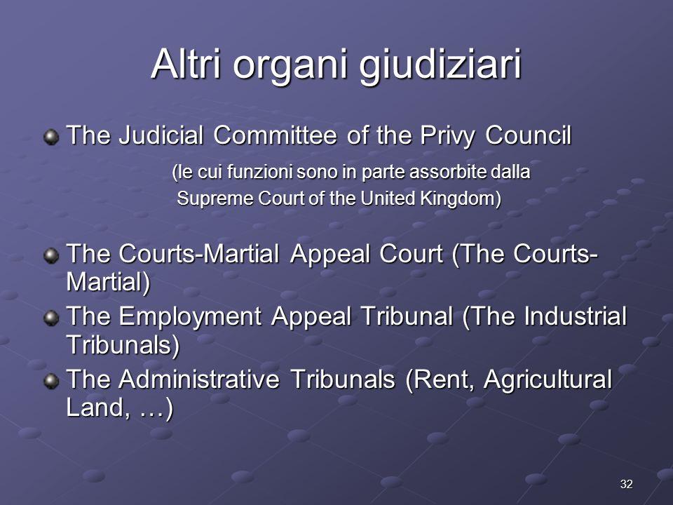 32 Altri organi giudiziari The Judicial Committee of the Privy Council (le cui funzioni sono in parte assorbite dalla (le cui funzioni sono in parte a
