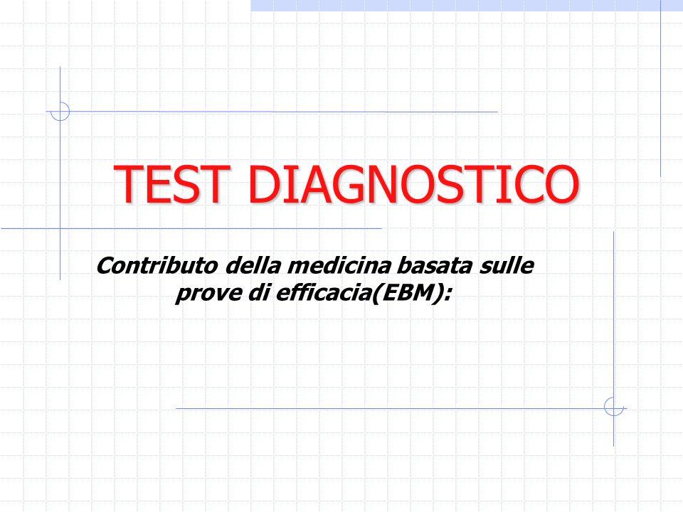 TEST DIAGNOSTICO Contributo della medicina basata sulle prove di efficacia(EBM):