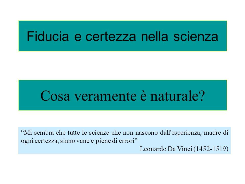 Fiducia e certezza nella scienza Cosa veramente è naturale? Mi sembra che tutte le scienze che non nascono dall'esperienza, madre di ogni certezza, si