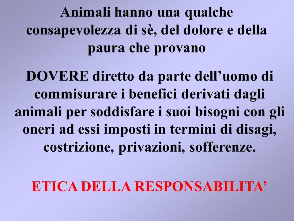 SUL CONCETTO DI RESPONSABILITA SI FONDANO LE ARGOMENTAZIONI RELATIVE AL BENESSESERE DEGLI ANIMALI
