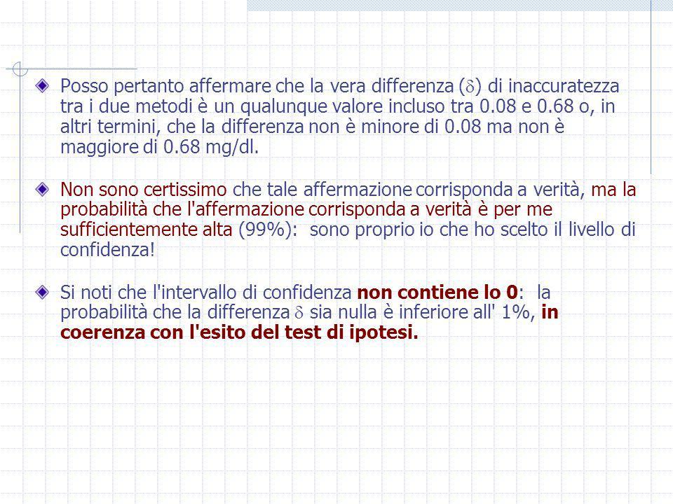 LA DIMENSIONE DEL CAMPIONE Se il tecnico avesse eseguito 7 misurazioni col metodo V e 21 col metodo N, avrebbe fatto la stessa quantità di lavoro ma avrebbe ottenuto un errore standard maggiore: Nel caso le due medie poste a confronto siano calcolate su campioni di numerosità uguale si ha che In questo caso è assai semplice ricavare la dimensione del campione necessaria a rico- noscere, con la potenza (1- ) desiderata, una specifica ipotesi alternativa, in presenza di una data dispersione ( ), e per un prefissato rischio d errore di tipo I ( ).