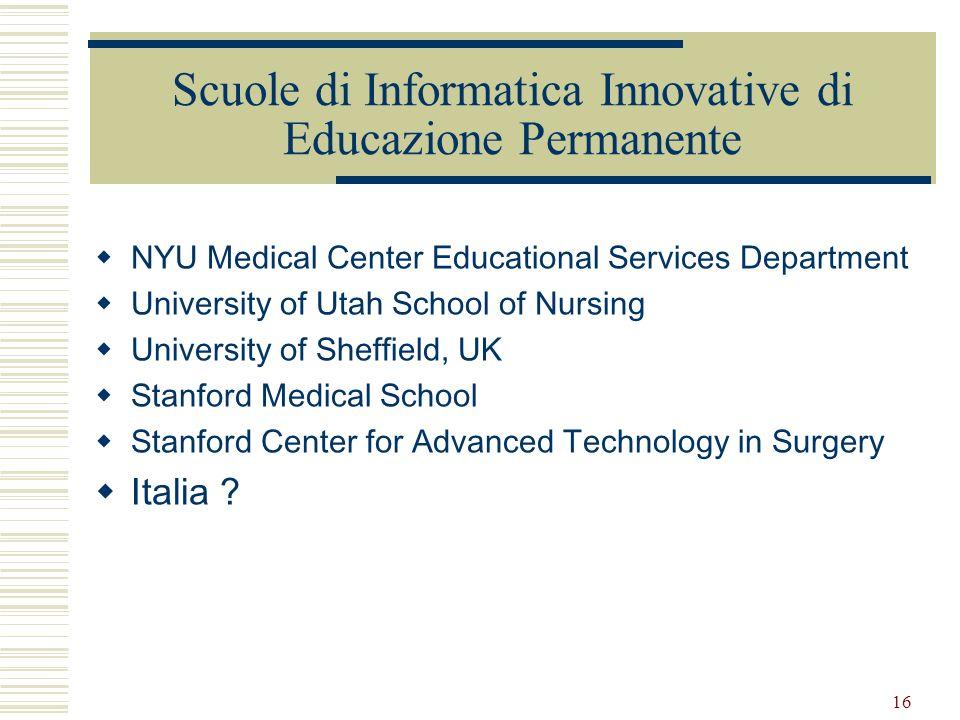 16 Scuole di Informatica Innovative di Educazione Permanente NYU Medical Center Educational Services Department University of Utah School of Nursing U