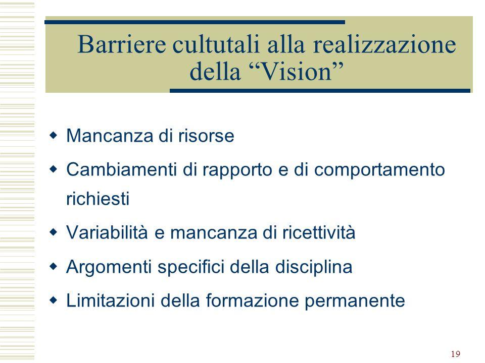 19 Barriere cultutali alla realizzazione della Vision Mancanza di risorse Cambiamenti di rapporto e di comportamento richiesti Variabilità e mancanza