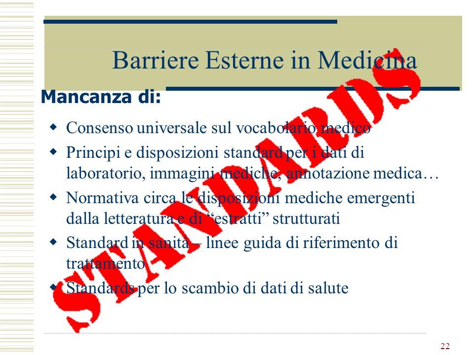 22 Barriere Esterne in Medicina Consenso universale sul vocabolario medico Principi e disposizioni standard per i dati di laboratorio, immagini medich