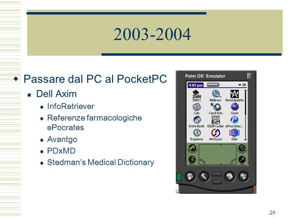 29 2003-2004 Passare dal PC al PocketPC Dell Axim InfoRetriever Referenze farmacologiche ePocrates Avantgo PDxMD Stedmans Medical Dictionary