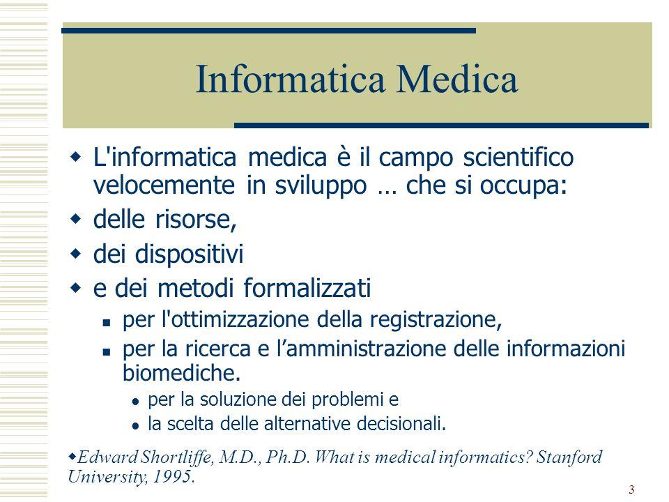 3 L'informatica medica è il campo scientifico velocemente in sviluppo … che si occupa: delle risorse, dei dispositivi e dei metodi formalizzati per l'