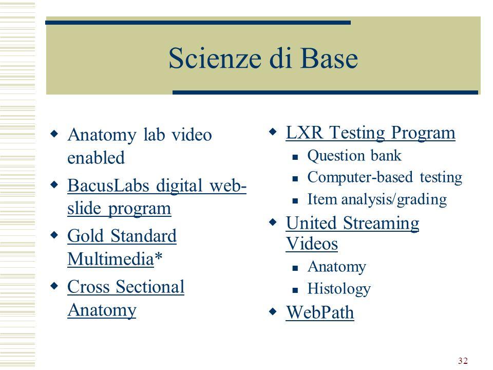 32 Scienze di Base Anatomy lab video enabled BacusLabs digital web- slide program BacusLabs digital web- slide program Gold Standard Multimedia* Gold
