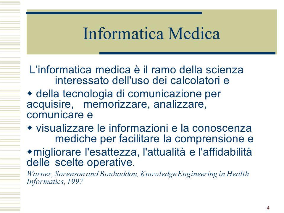 4 Informatica Medica L'informatica medica è il ramo della scienza interessato dell'uso dei calcolatori e della tecnologia di comunicazione per acquisi