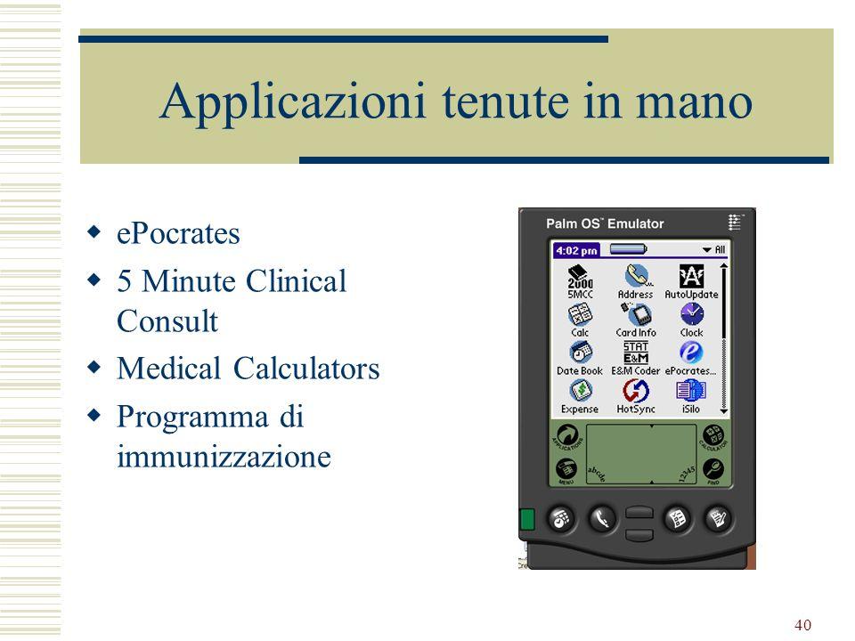 40 Applicazioni tenute in mano ePocrates 5 Minute Clinical Consult Medical Calculators Programma di immunizzazione