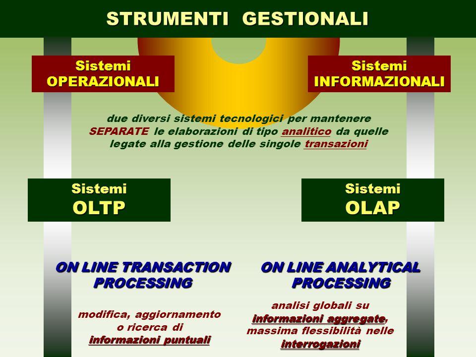 STRUMENTI GESTIONALI due diversi sistemi tecnologici per mantenere SEPARATE le elaborazioni di tipo analitico da quelle legate alla gestione delle sin
