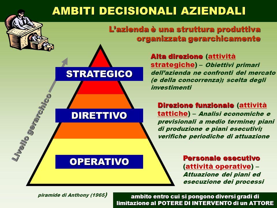 piramide di Anthony (1965 ) Livello gerarchico AMBITI DECISIONALI AZIENDALI AMBITI DECISIONALI AZIENDALISTRATEGICODIRETTIVO OPERATIVO Lazienda è una s
