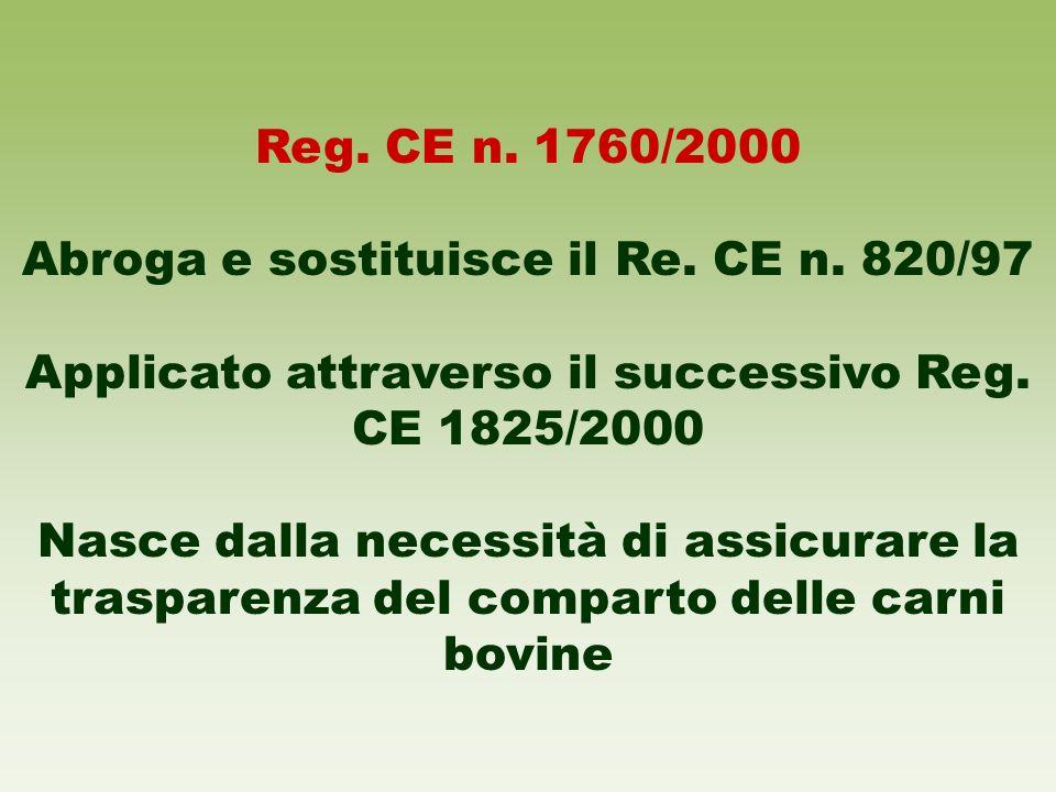 Reg. CE n. 1760/2000 Abroga e sostituisce il Re. CE n. 820/97 Applicato attraverso il successivo Reg. CE 1825/2000 Nasce dalla necessità di assicurare