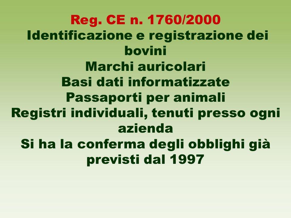 Reg. CE n. 1760/2000 Identificazione e registrazione dei bovini Marchi auricolari Basi dati informatizzate Passaporti per animali Registri individuali