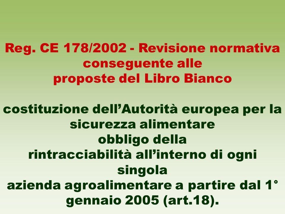 Reg. CE 178/2002 - Revisione normativa conseguente alle proposte del Libro Bianco costituzione dellAutorità europea per la sicurezza alimentare obblig