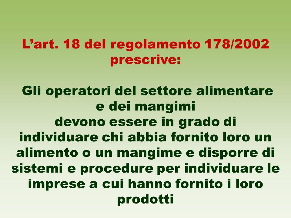 Lart. 18 del regolamento 178/2002 prescrive: Gli operatori del settore alimentare e dei mangimi devono essere in grado di individuare chi abbia fornit