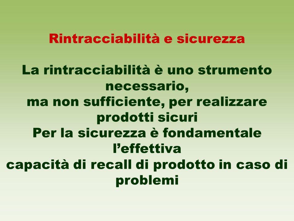 Rintracciabilità e sicurezza La rintracciabilità è uno strumento necessario, ma non sufficiente, per realizzare prodotti sicuri Per la sicurezza è fon