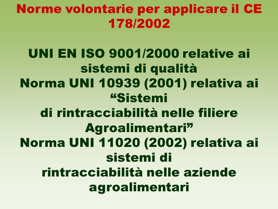 Norme volontarie per applicare il CE 178/2002 UNI EN ISO 9001/2000 relative ai sistemi di qualità Norma UNI 10939 (2001) relativa ai Sistemi di rintra