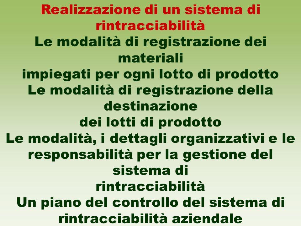 Realizzazione di un sistema di rintracciabilità Le modalità di registrazione dei materiali impiegati per ogni lotto di prodotto Le modalità di registr