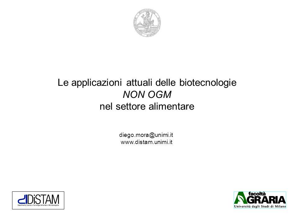 Le applicazioni attuali delle biotecnologie NON OGM nel settore alimentare diego.mora@unimi.it www.distam.unimi.it
