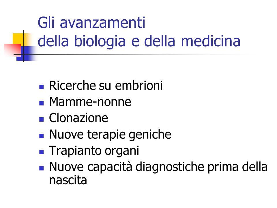 Gli avanzamenti della biologia e della medicina Ricerche su embrioni Mamme-nonne Clonazione Nuove terapie geniche Trapianto organi Nuove capacità diag