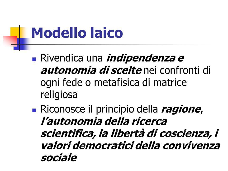 Modello laico Rivendica una indipendenza e autonomia di scelte nei confronti di ogni fede o metafisica di matrice religiosa Riconosce il principio del