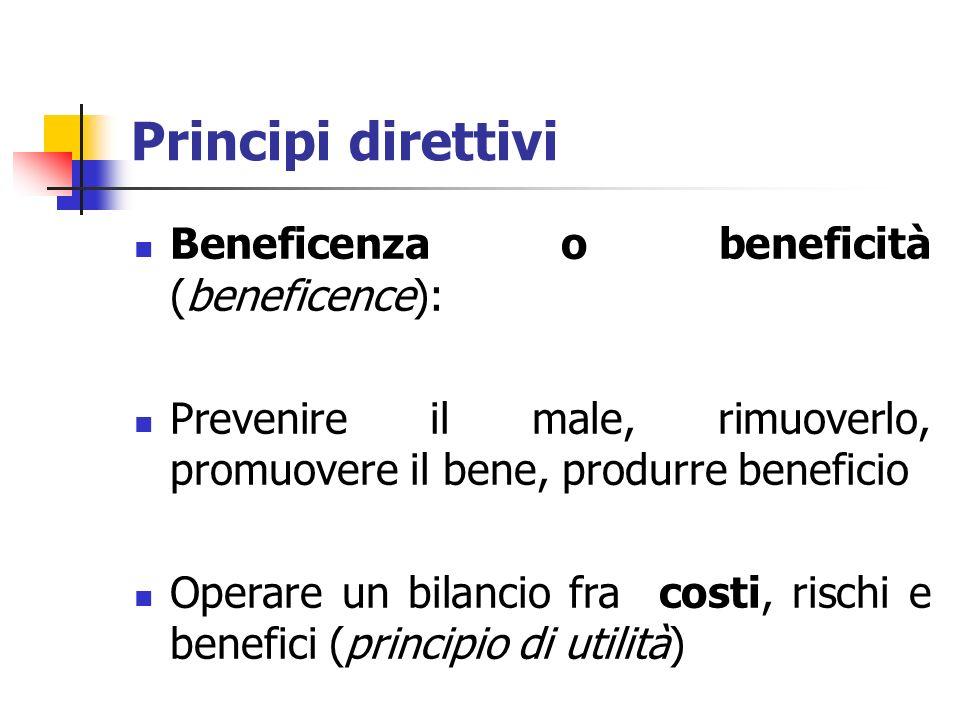 Principi direttivi Beneficenza o beneficità (beneficence): Prevenire il male, rimuoverlo, promuovere il bene, produrre beneficio Operare un bilancio f