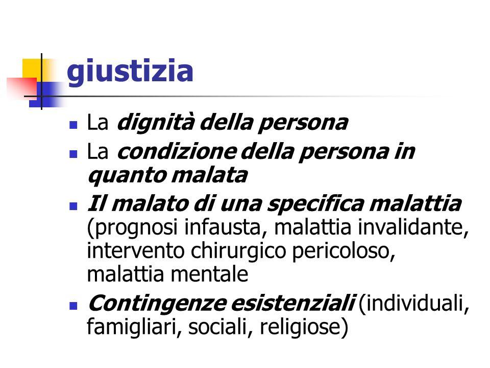 giustizia La dignità della persona La condizione della persona in quanto malata Il malato di una specifica malattia (prognosi infausta, malattia inval