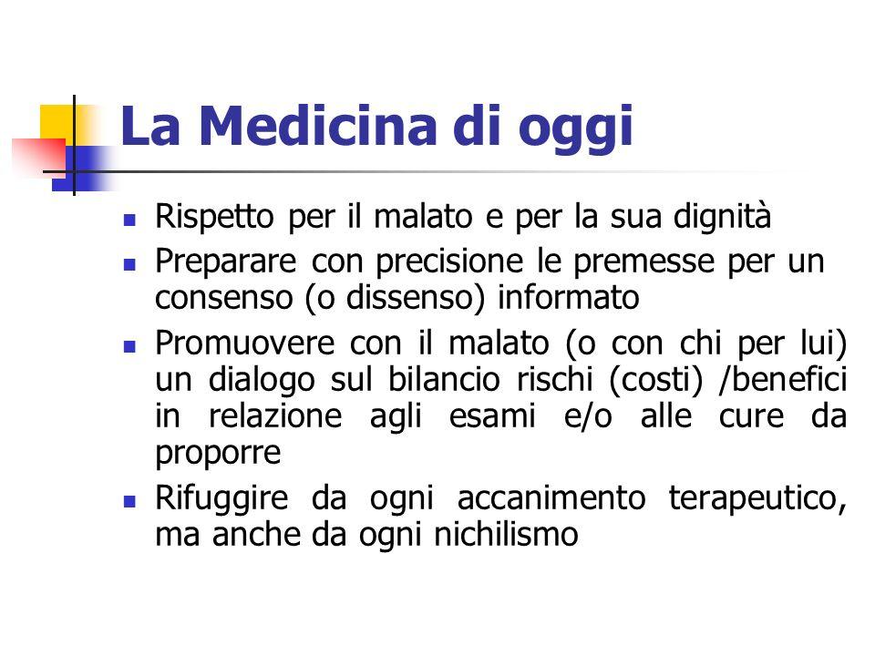 La Medicina di oggi Rispetto per il malato e per la sua dignità Preparare con precisione le premesse per un consenso (o dissenso) informato Promuovere