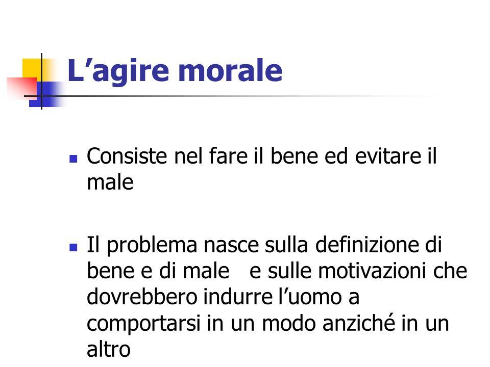 Lagire morale Consiste nel fare il bene ed evitare il male Il problema nasce sulla definizione di bene e di male e sulle motivazioni che dovrebbero in