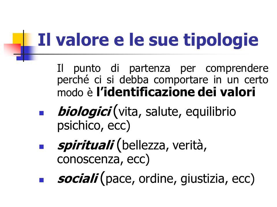 Il valore e le sue tipologie Il punto di partenza per comprendere perché ci si debba comportare in un certo modo è lidentificazione dei valori biologi