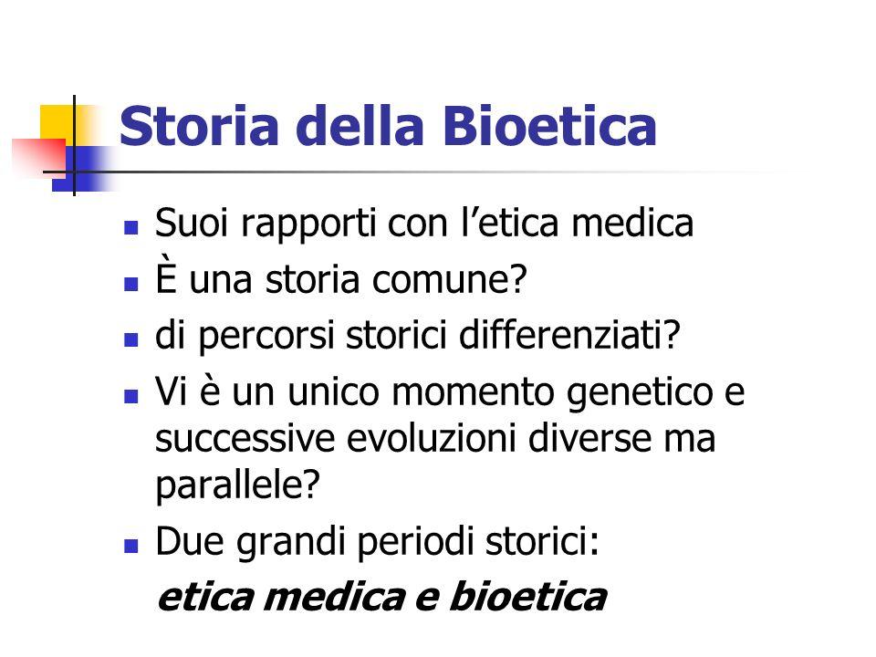 Storia della Bioetica Suoi rapporti con letica medica È una storia comune? di percorsi storici differenziati? Vi è un unico momento genetico e success