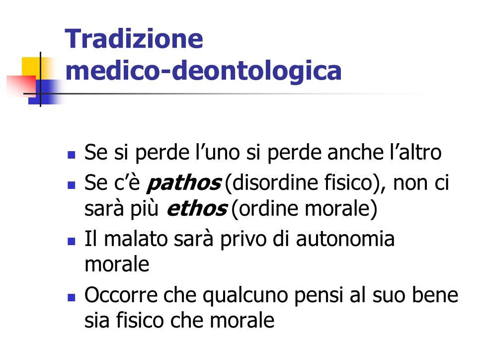 Tradizione medico-deontologica Se si perde luno si perde anche laltro Se cè pathos (disordine fisico), non ci sarà più ethos (ordine morale) Il malato