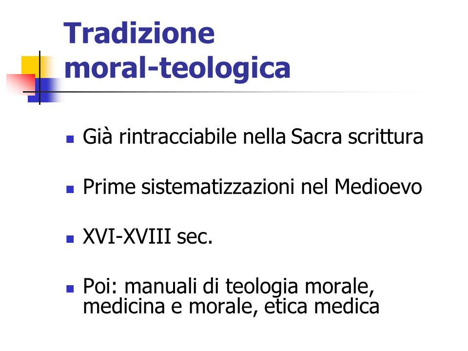 Tradizione moral-teologica Già rintracciabile nella Sacra scrittura Prime sistematizzazioni nel Medioevo XVI-XVIII sec. Poi: manuali di teologia moral