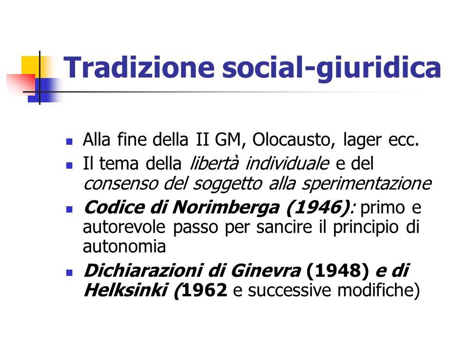 Tradizione social-giuridica Alla fine della II GM, Olocausto, lager ecc. Il tema della libertà individuale e del consenso del soggetto alla sperimenta