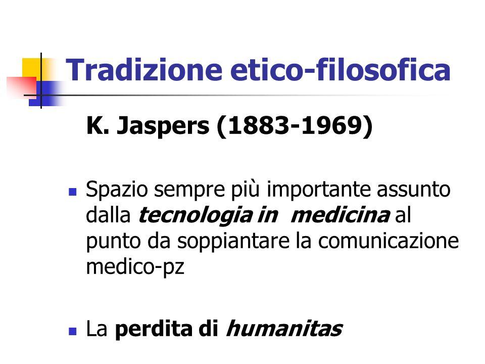 Tradizione etico-filosofica K. Jaspers (1883-1969) Spazio sempre più importante assunto dalla tecnologia in medicina al punto da soppiantare la comuni