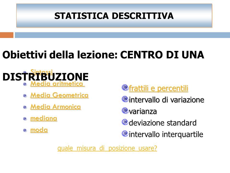 Si dice mediana il valore che occupa il posto centrale in una distribuzione statistica di frequenza i cui valori sono disposti in ordine crescente La media aritmetica è la misura di posizione più usata ma.