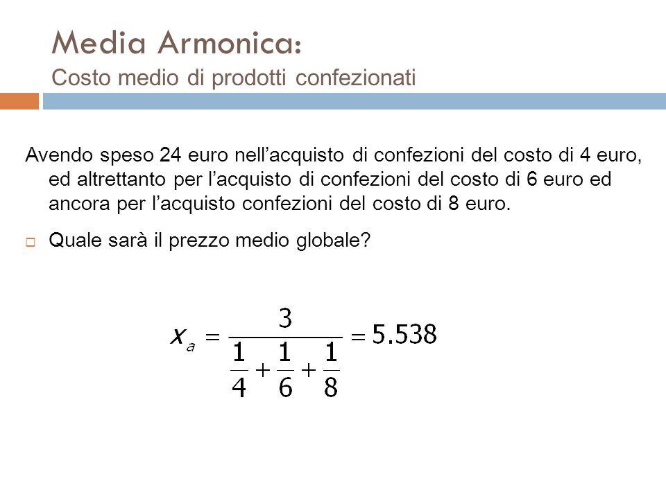 media di N proporzioni Esempio: P 1 = 0.1% ed P 2 =0.05% ovvero P 1 =1/10 e p 2 =1/20 hanno media aritmetica 3/40 ovvero P MEDIA = 0.075 La Media armo