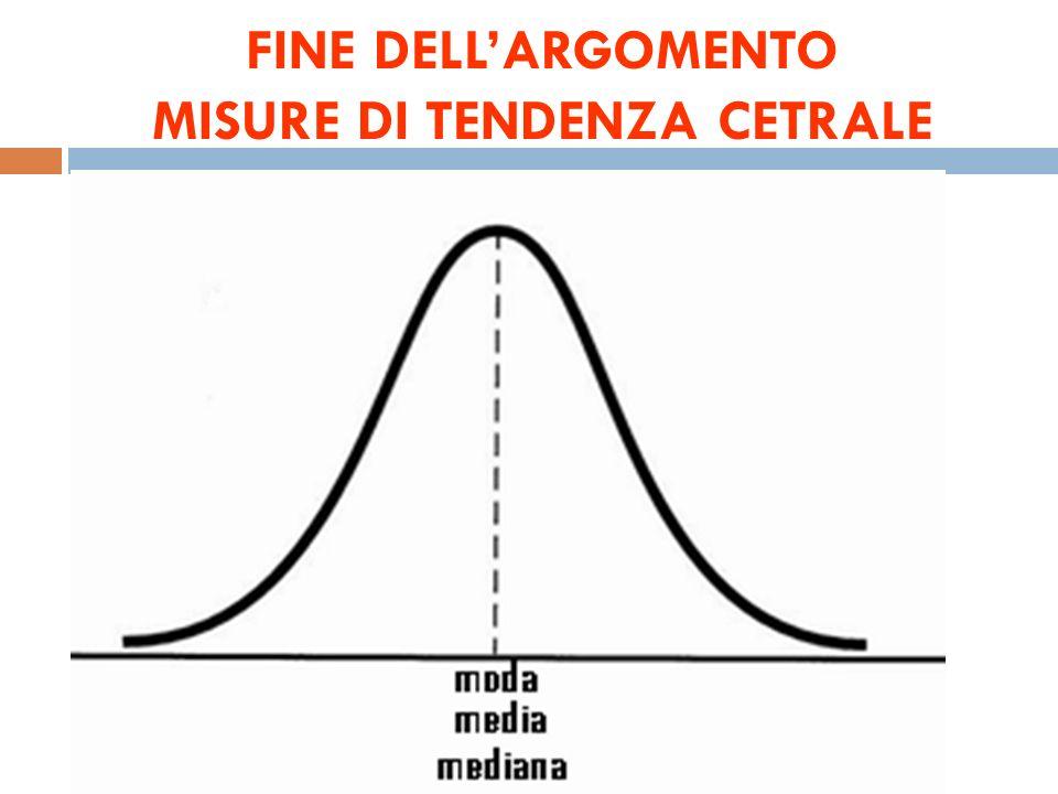 In quale ordine si dispongono le misure di tendenza cetrale ?
