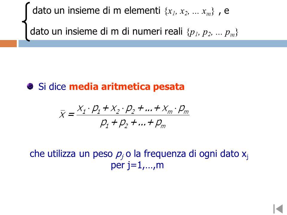 Si dice media aritmetica semplice di N numeri il numero che si ottiene dividendo la loro somma per N. dato un insieme di n elementi {x 1, x 2,... x N