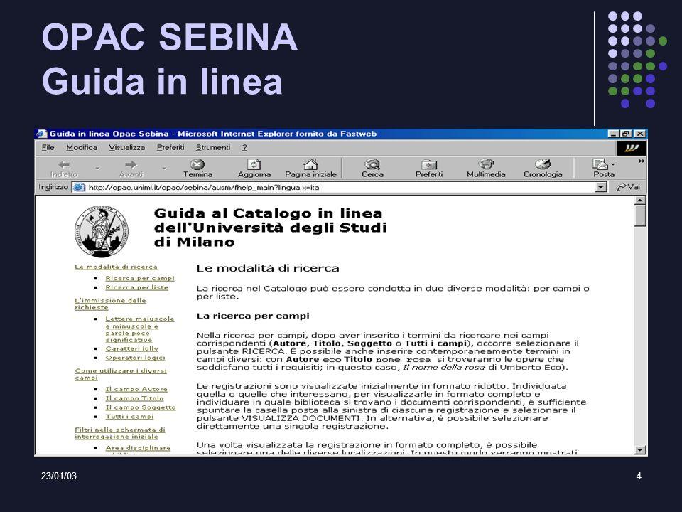 23/01/034 OPAC SEBINA Guida in linea