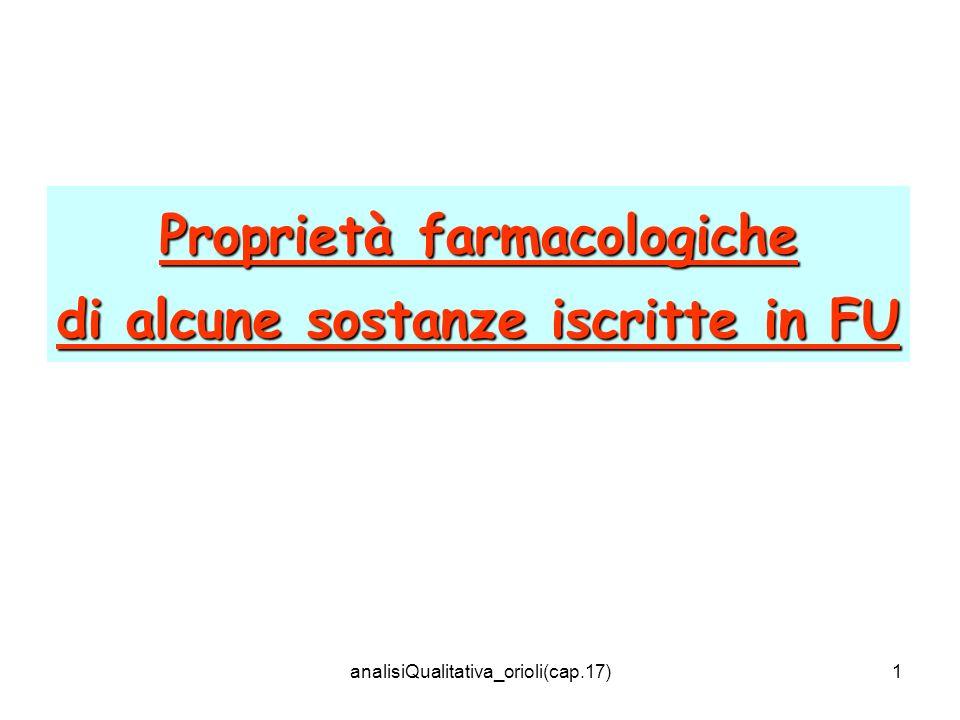 analisiQualitativa_orioli(cap.17)1 Proprietà farmacologiche di alcune sostanze iscritte in FU