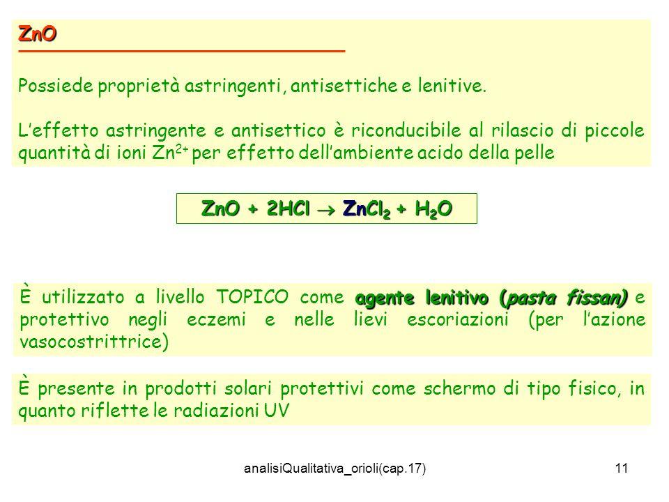 analisiQualitativa_orioli(cap.17)11 ZnO Possiede proprietà astringenti, antisettiche e lenitive. Leffetto astringente e antisettico è riconducibile al