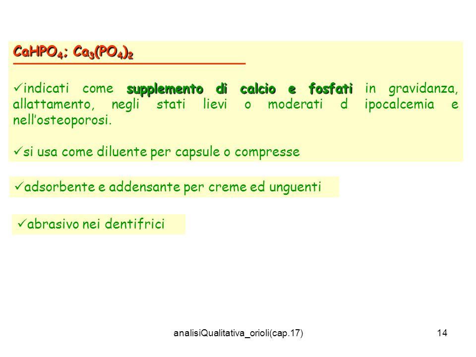 analisiQualitativa_orioli(cap.17)14 CaHPO 4 ; Ca 3 (PO 4 ) 2 supplemento di calcio e fosfati indicati come supplemento di calcio e fosfati in gravidan