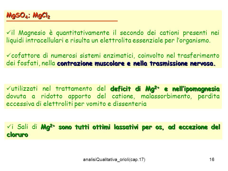 analisiQualitativa_orioli(cap.17)16 MgSO 4 ; MgCl 2 il Magnesio è quantitativamente il secondo dei cationi presenti nei liquidi intracellulari e risulta un elettrolita essenziale per lorganismo.