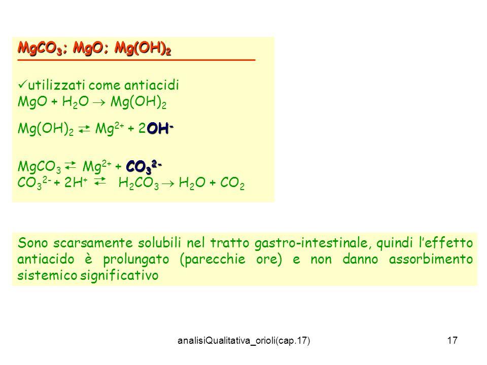 analisiQualitativa_orioli(cap.17)17 MgCO 3 ; MgO; Mg(OH) 2 utilizzati come antiacidi MgO + H 2 O Mg(OH) 2 OH - Mg(OH) 2 Mg 2+ + 2OH - CO 3 2- MgCO 3 Mg 2+ + CO 3 2- CO 3 2- + 2H + H 2 CO 3 H 2 O + CO 2 Sono scarsamente solubili nel tratto gastro-intestinale, quindi leffetto antiacido è prolungato (parecchie ore) e non danno assorbimento sistemico significativo
